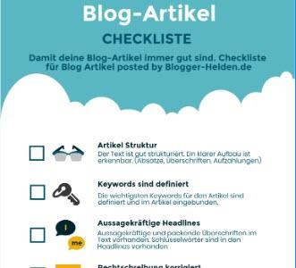 Checkliste Blog Artikel schreiben