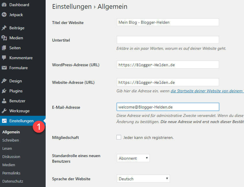 Blog Installation mit WordPress