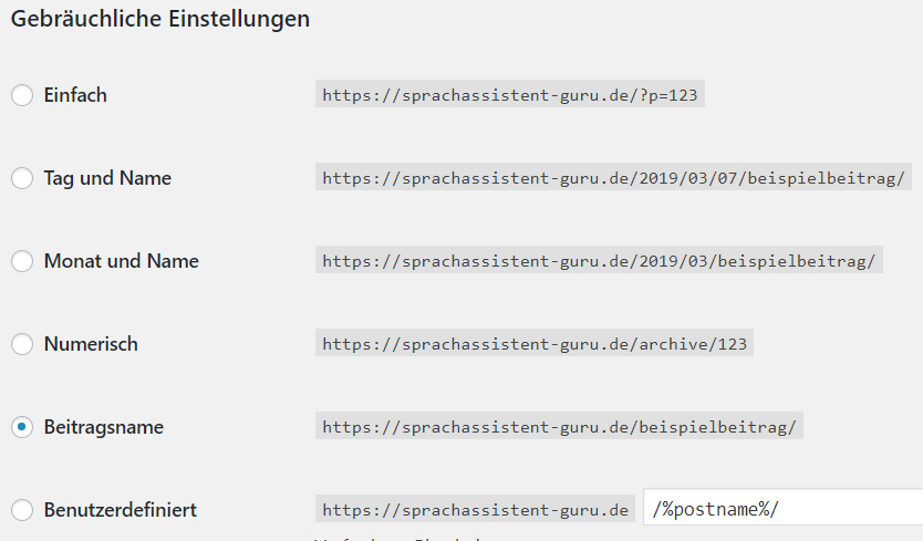 Permalinks Einstellung in Wordpress